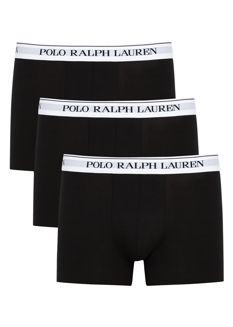 Black stretch-cotton boxer trunks - set of three