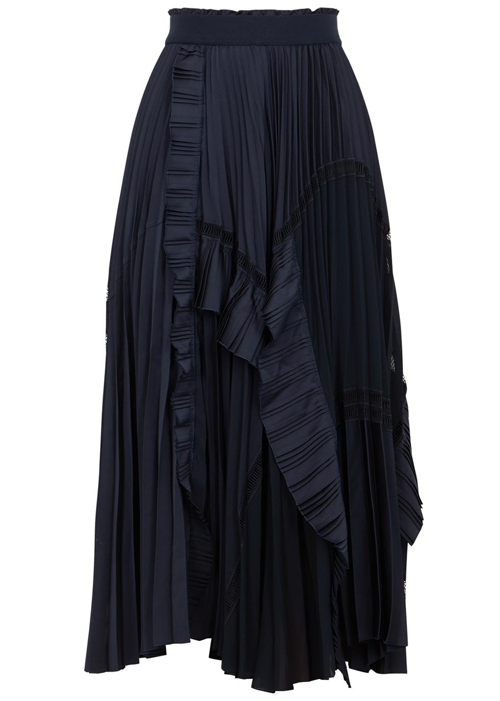 Fantastic navy pleated panelled midi skirt
