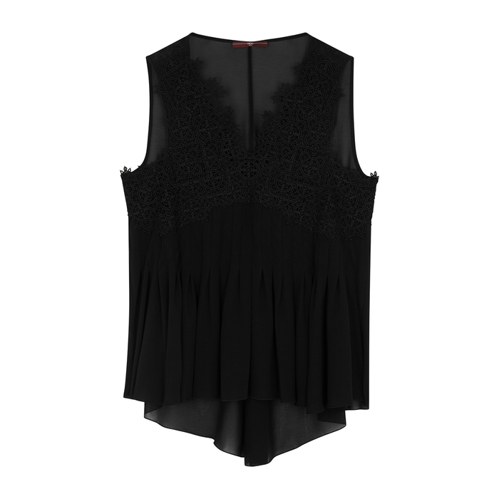 High IN ORDER BLACK LACE AND CHIFFON TOP