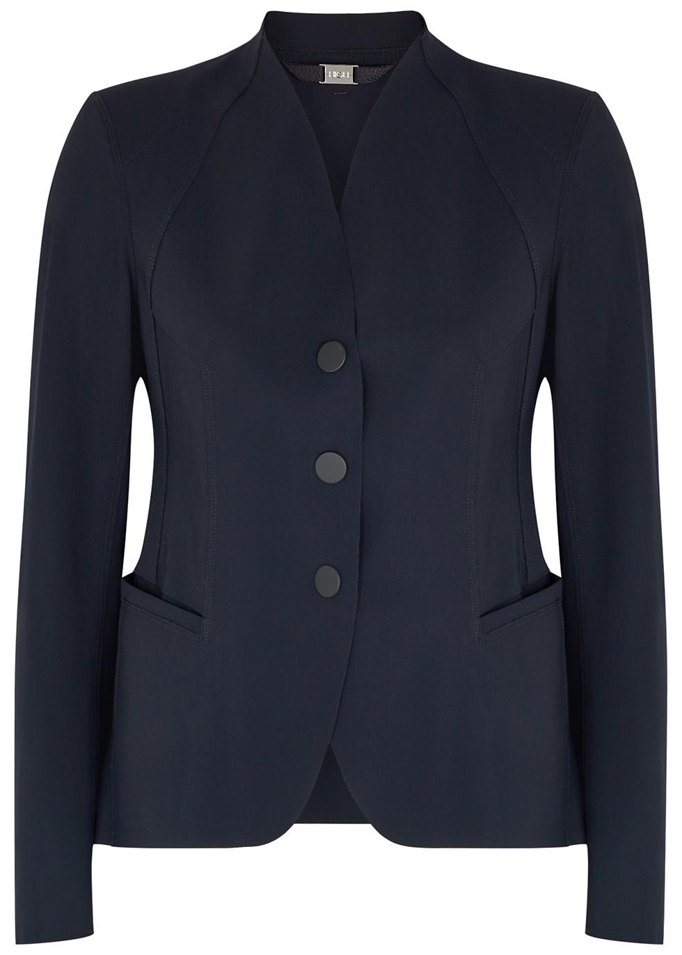 Charismatic navy stretch-nylon jacket