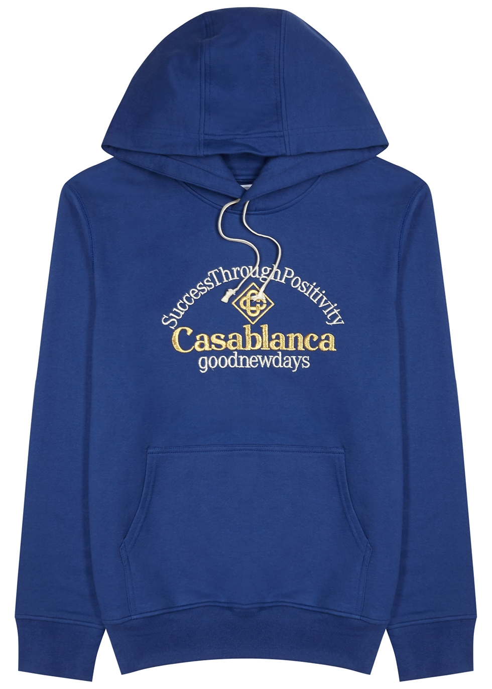 Blue hooded embroidered cotton sweatshirt