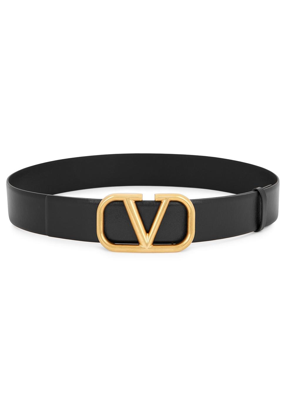 Valentino Garavani VLogo black leather belt