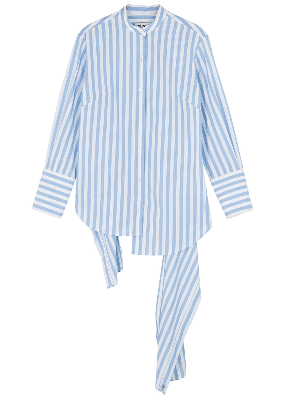 Striped asymmetric cotton shirt