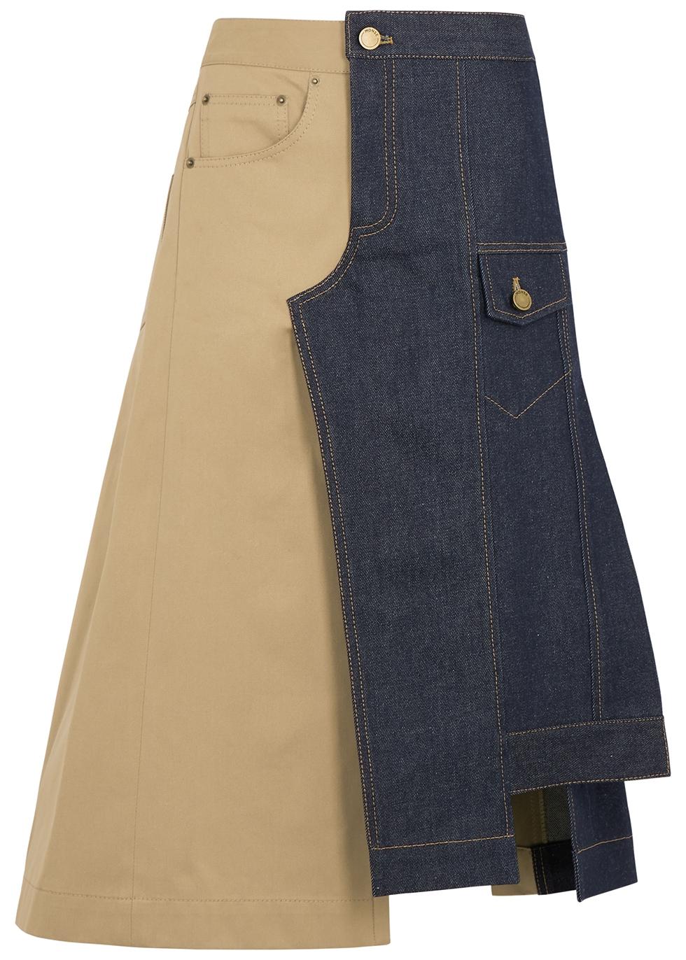 Panelled denim and twill midi skirt