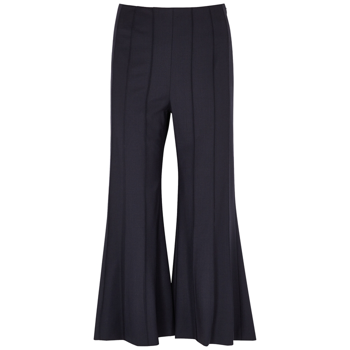 Monse NAVY PINTUCKED CROPPED FLARED TROUSERS