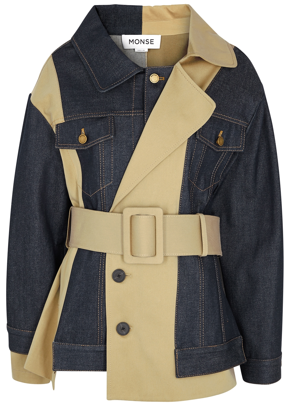 Panelled denim and twill trench coat