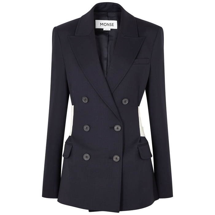 MONSE NAVY DOUBLE-BREASTED STRETCH-WOOL BLAZER