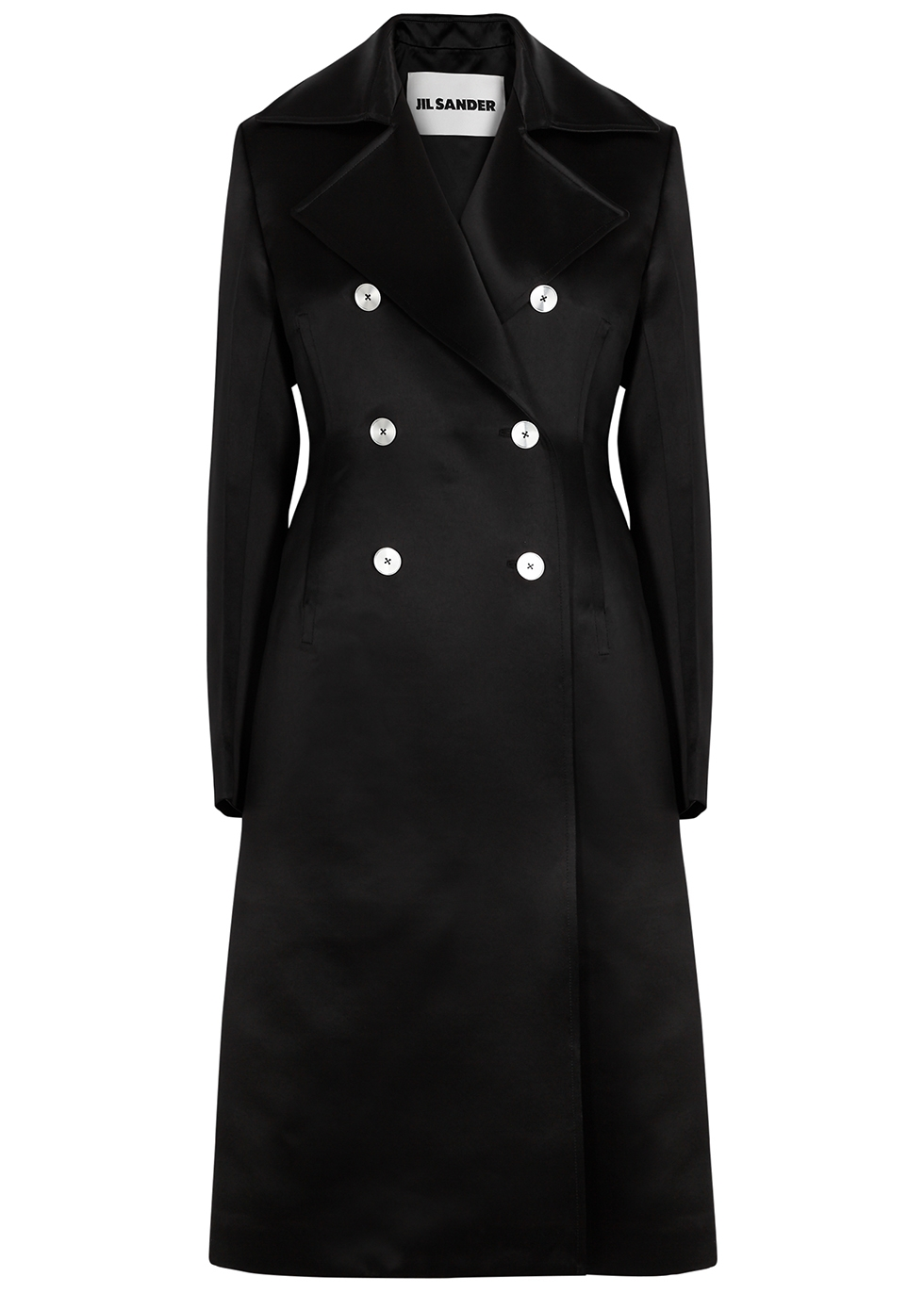 Black double-breasted satin trench coat