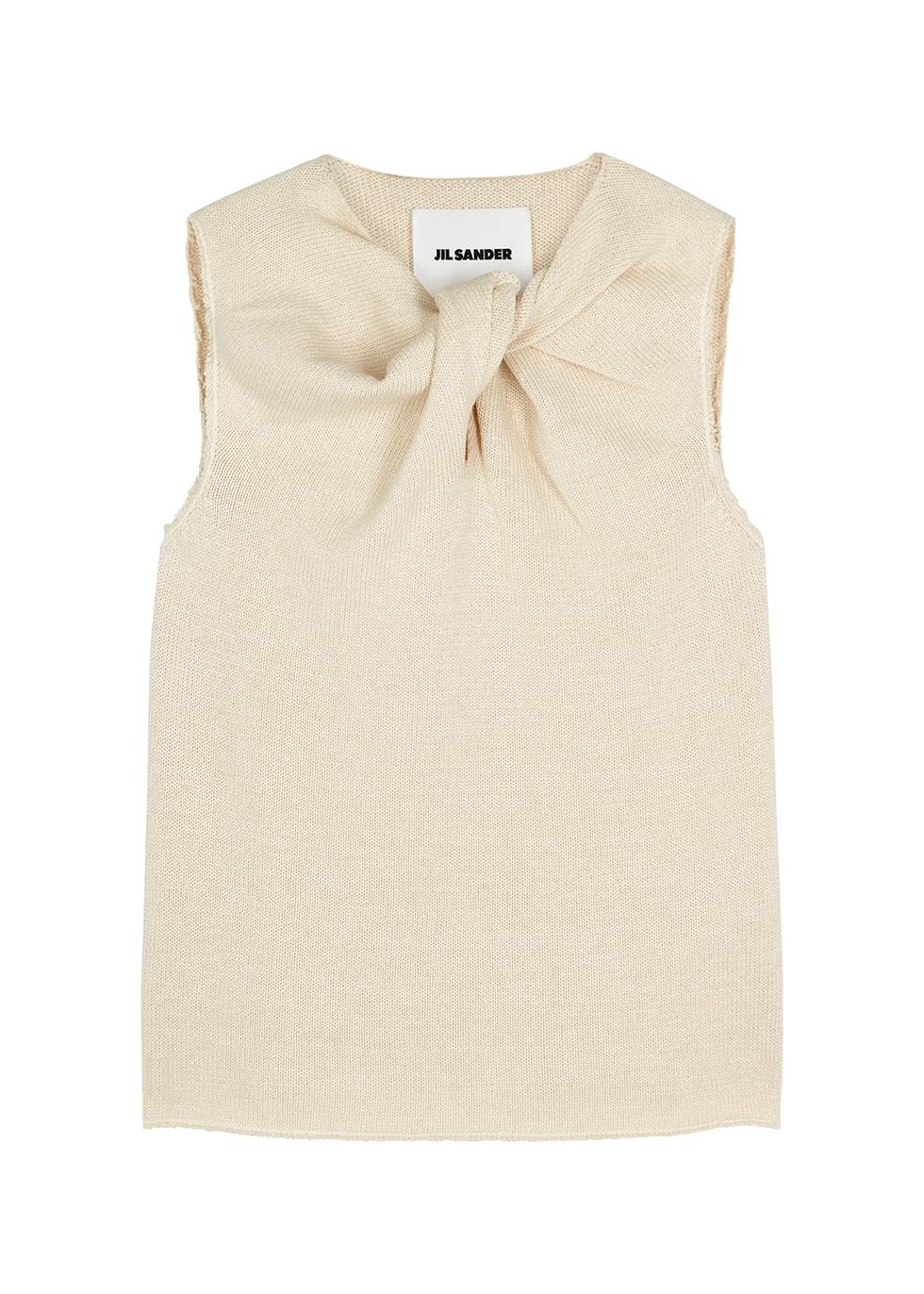 Cream twist-effect cotton-blend top