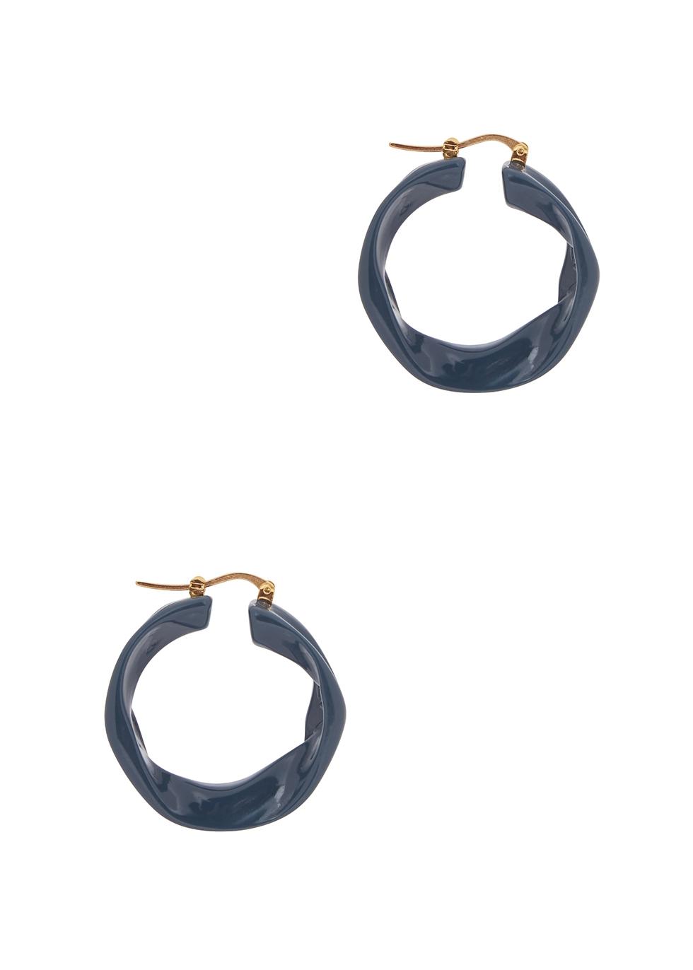 Melting dark teal resin hoop earrings