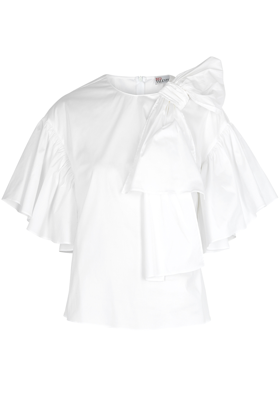 White bow-embellished cotton-blend top