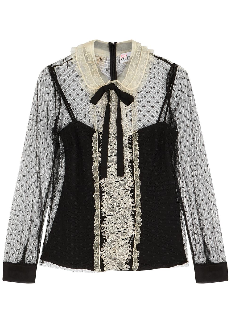 Black lace-trimmed point d'esprit blouse
