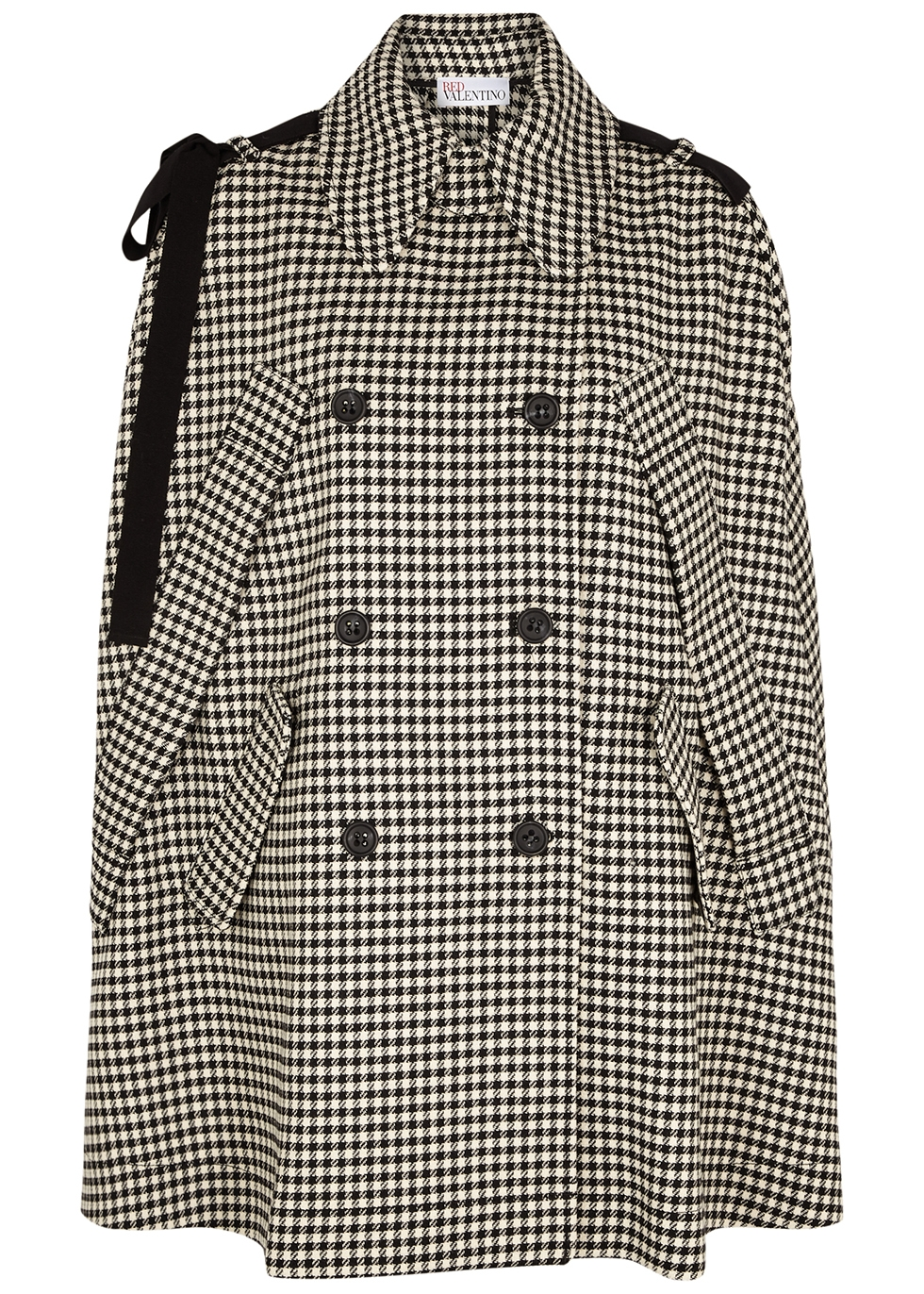 Houndstooth double-breasted cape