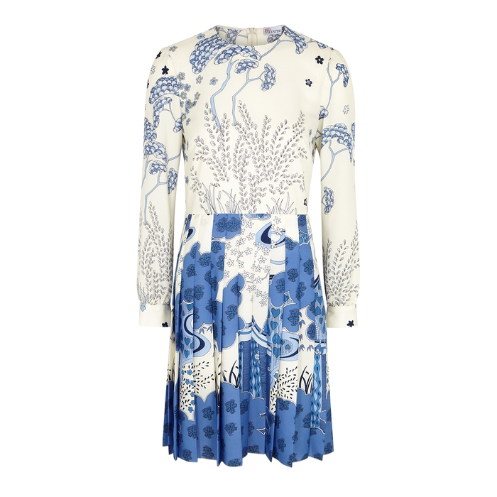 Red Valentino Dress With Crepe De Chine Folds With Oriental Toile De Jouy Print In Latte