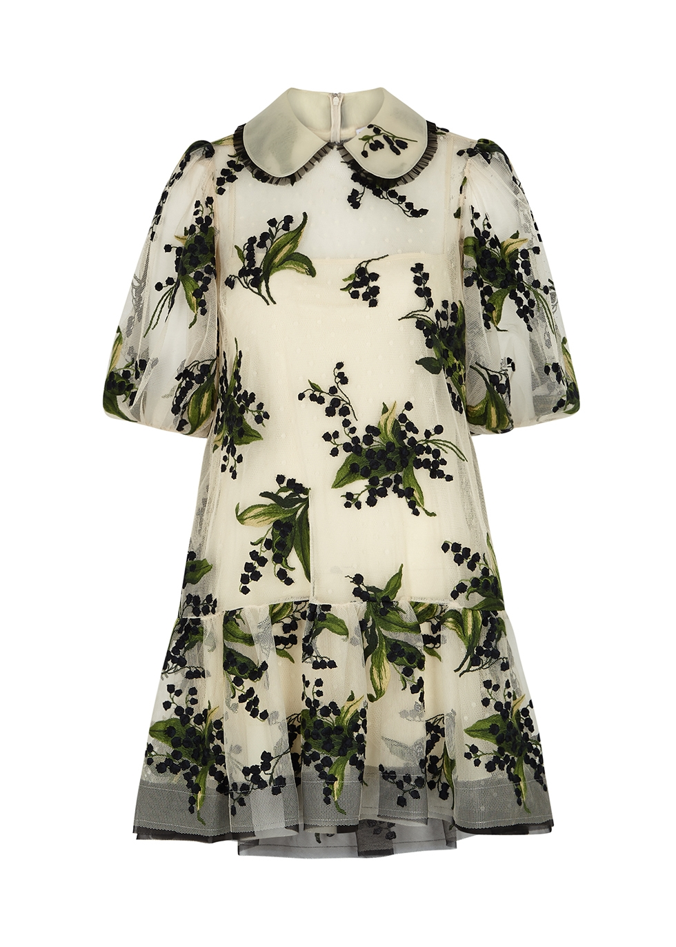 Ivory floral-embroidered tulle mini dress