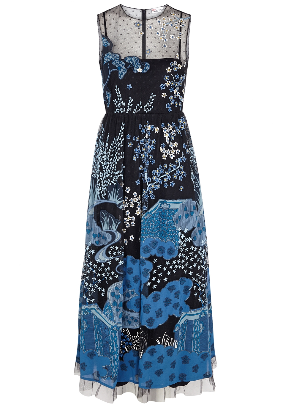Navy appliquéd point d'esprit maxi dress