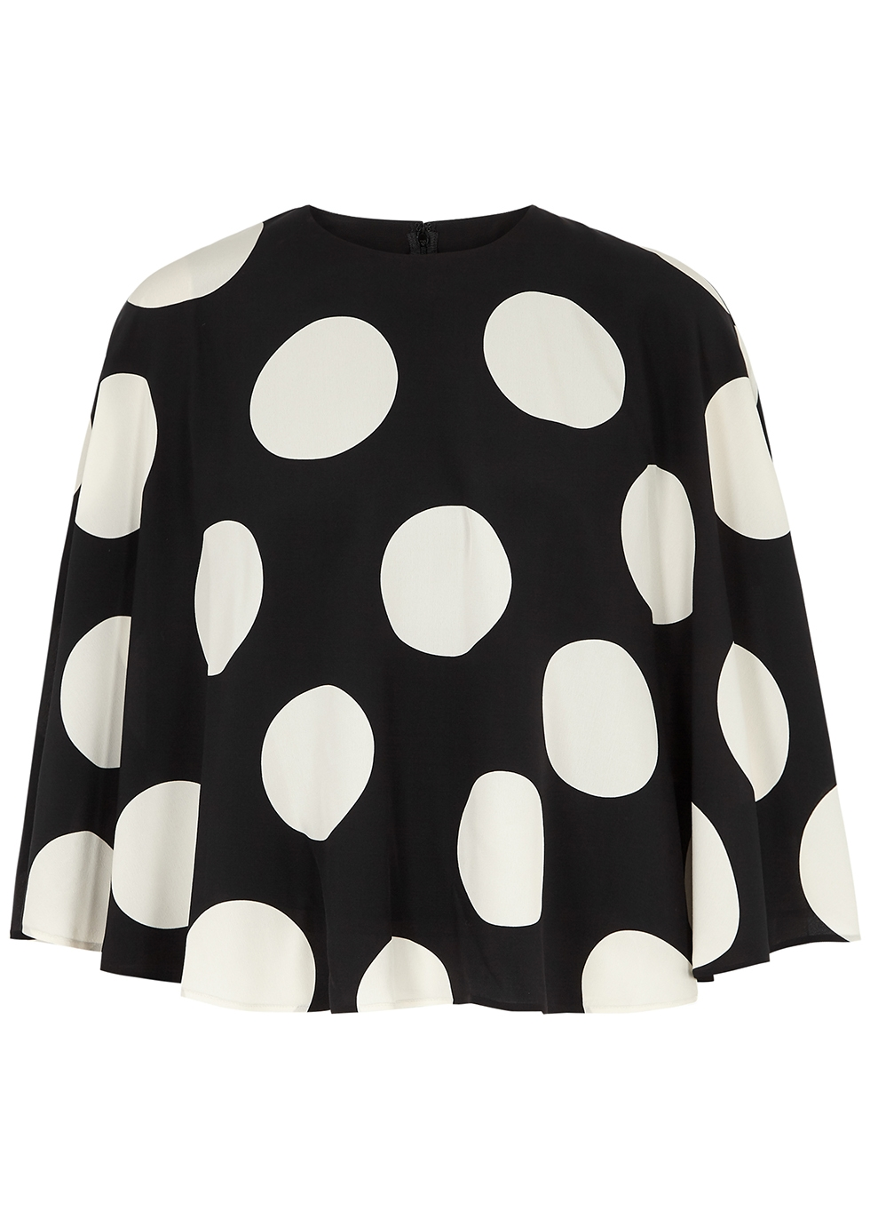 Valentino Silks POLKA-DOT CAPE-EFFECT SILK TOP