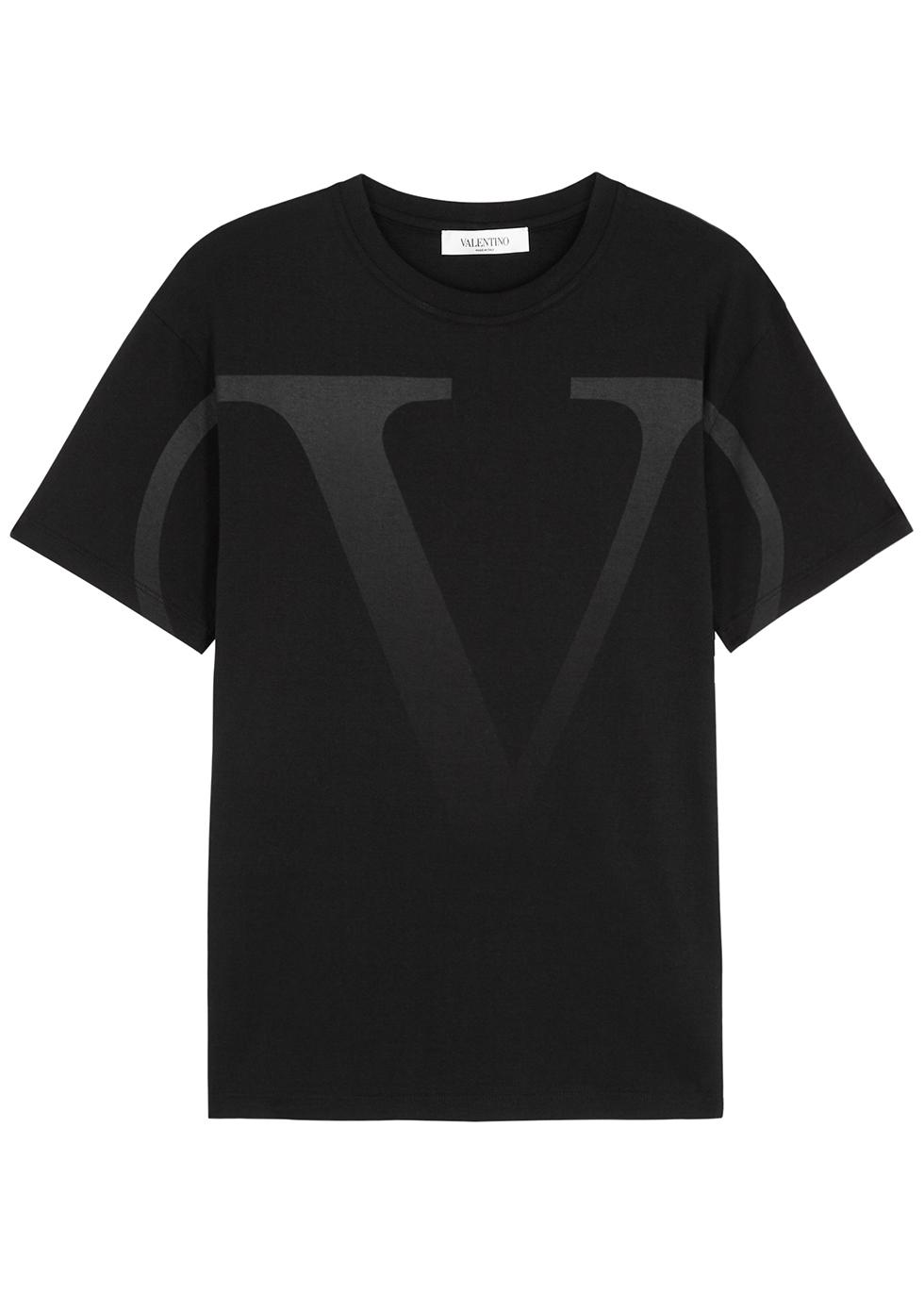 Valentino BLACK VLOGO-PRINT COTTON T-SHIRT
