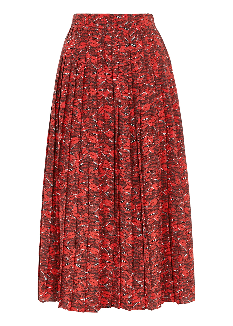 Valentino RED PRINTED SILK CREPE DE CHINE MIDI SKIRT