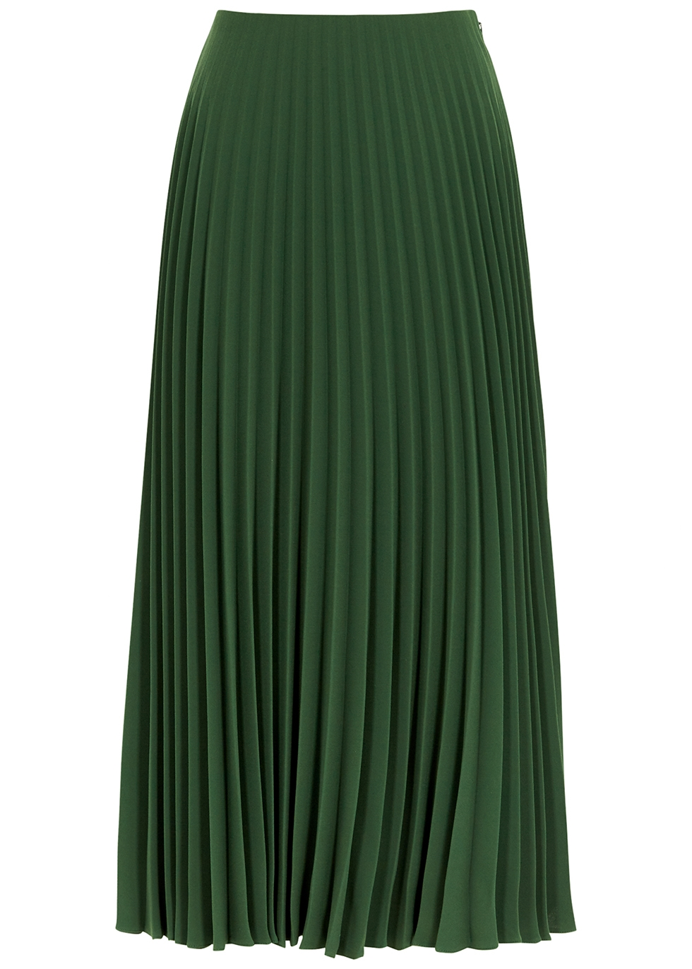 Forest green pleated cady midi skirt