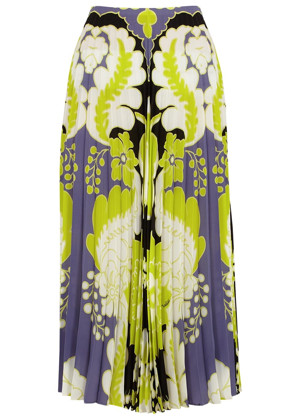 Printed pleated silk midi skirt
