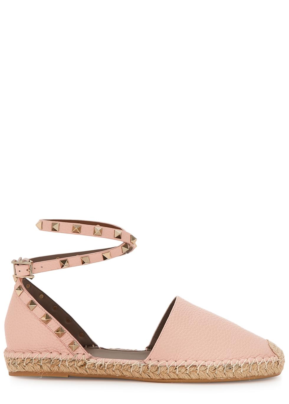 Valentino Garavani Rockstud pink leather espadrilles