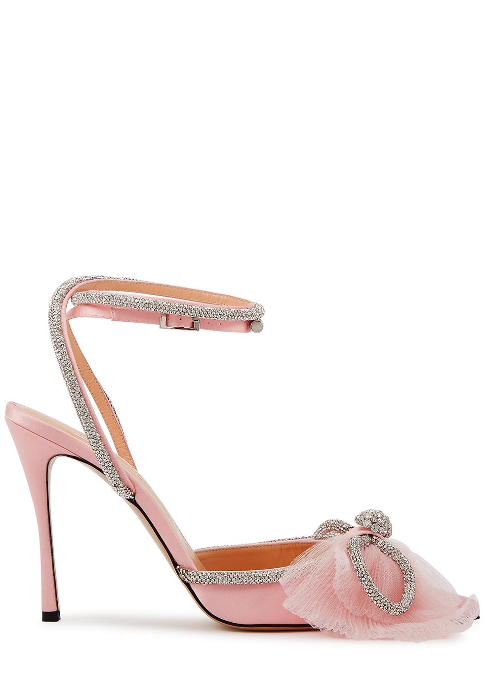 110 light pink crystal-embellished satin pumps