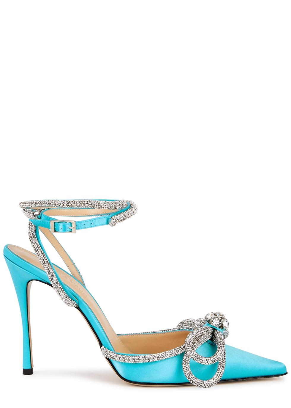 110 turquoise crystal-embellished satin pumps