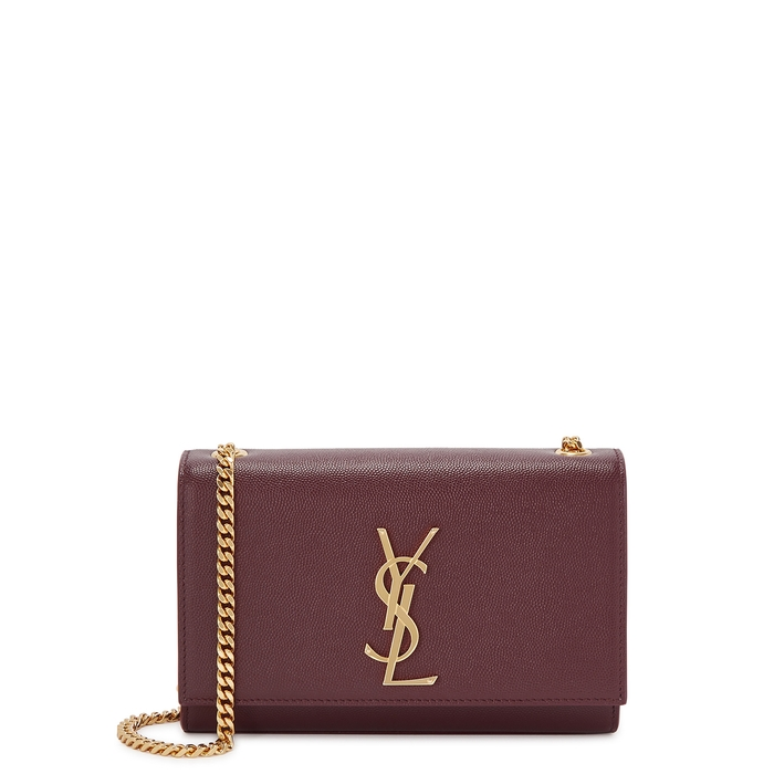 Saint Laurent Kate Small Burgundy Leather Shoulder Bag
