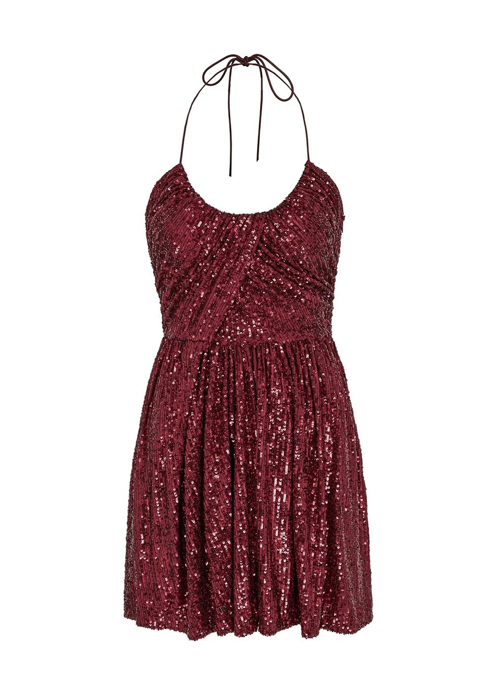 Burgundy sequin mini dress