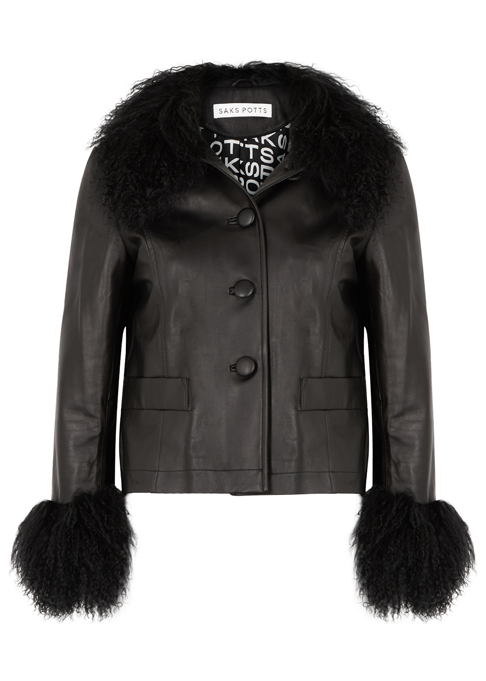Dorthe black shearling-trimmed leather jacket