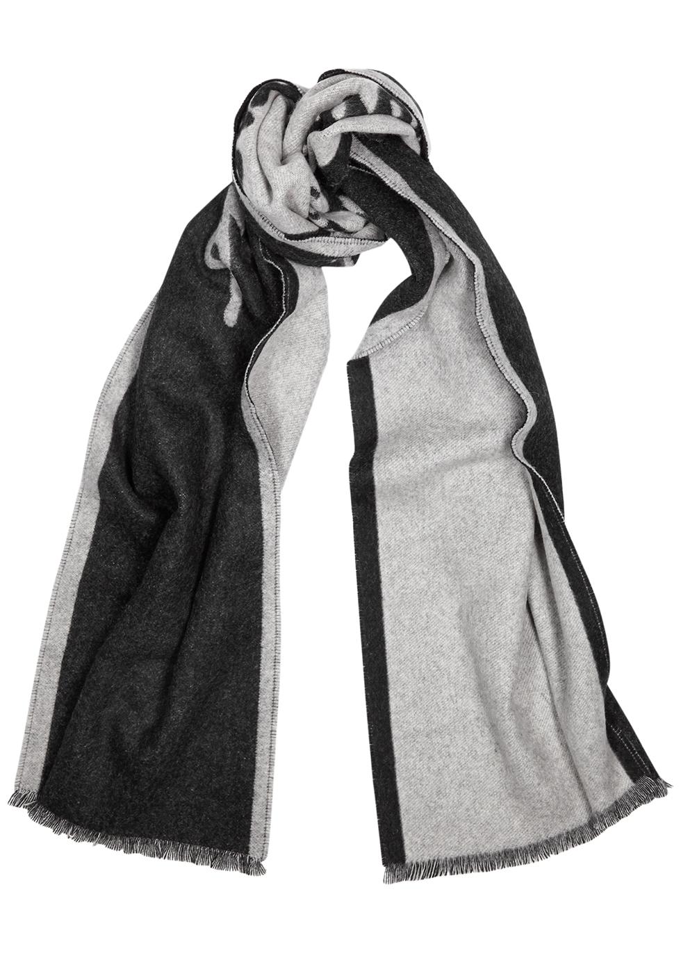 Charcoal logo-intarsia cashmere-blend scarf