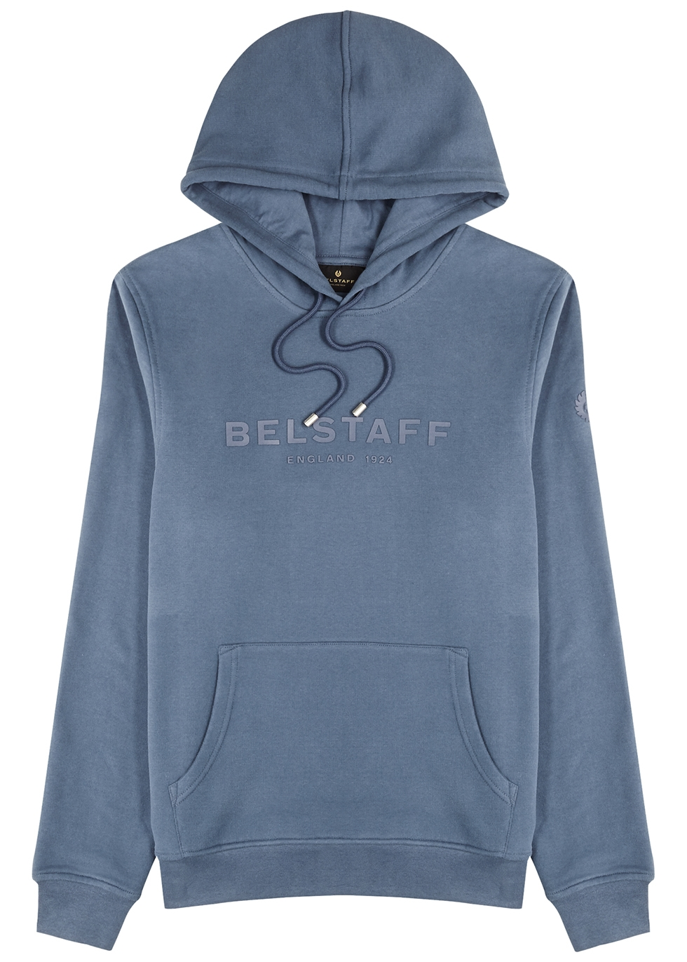 Blue logo hooded cotton sweatshirt