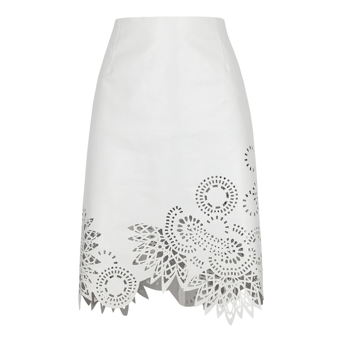 Dries Van Noten Skirts LASS WHITE LEATHER MINI SKIRT