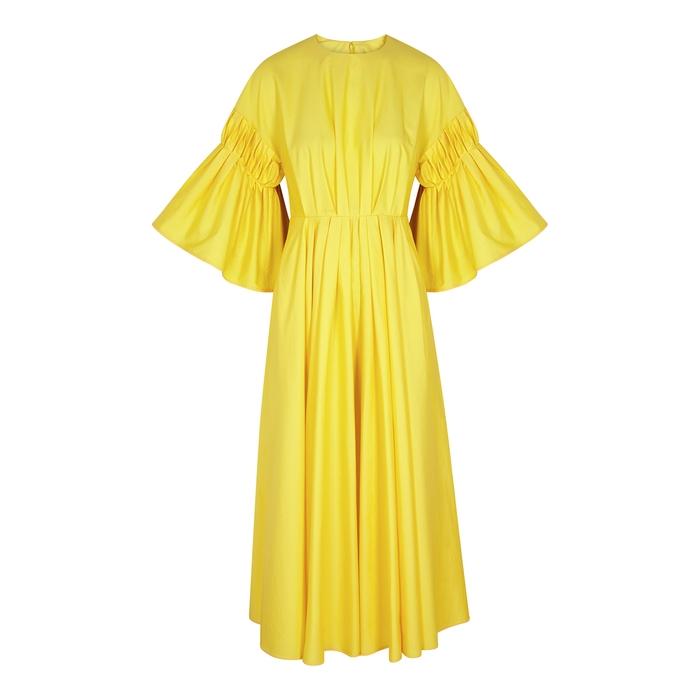 Roksanda Dresses IOSEFINA YELLOW FLARED POPLIN MIDI DRESS