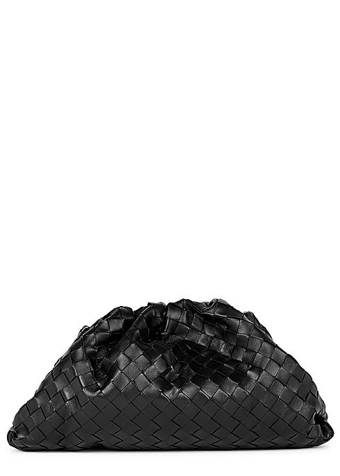 The Pouch Intrecciato black leather clutch - Bottega Veneta