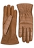 Brown crocodile-effect leather gloves - Bottega Veneta