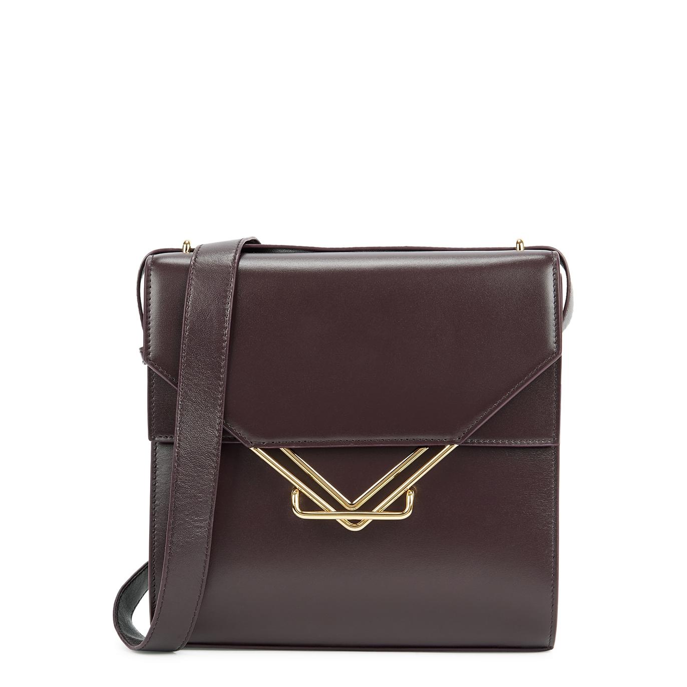 The Clip plum leather shoulder bag