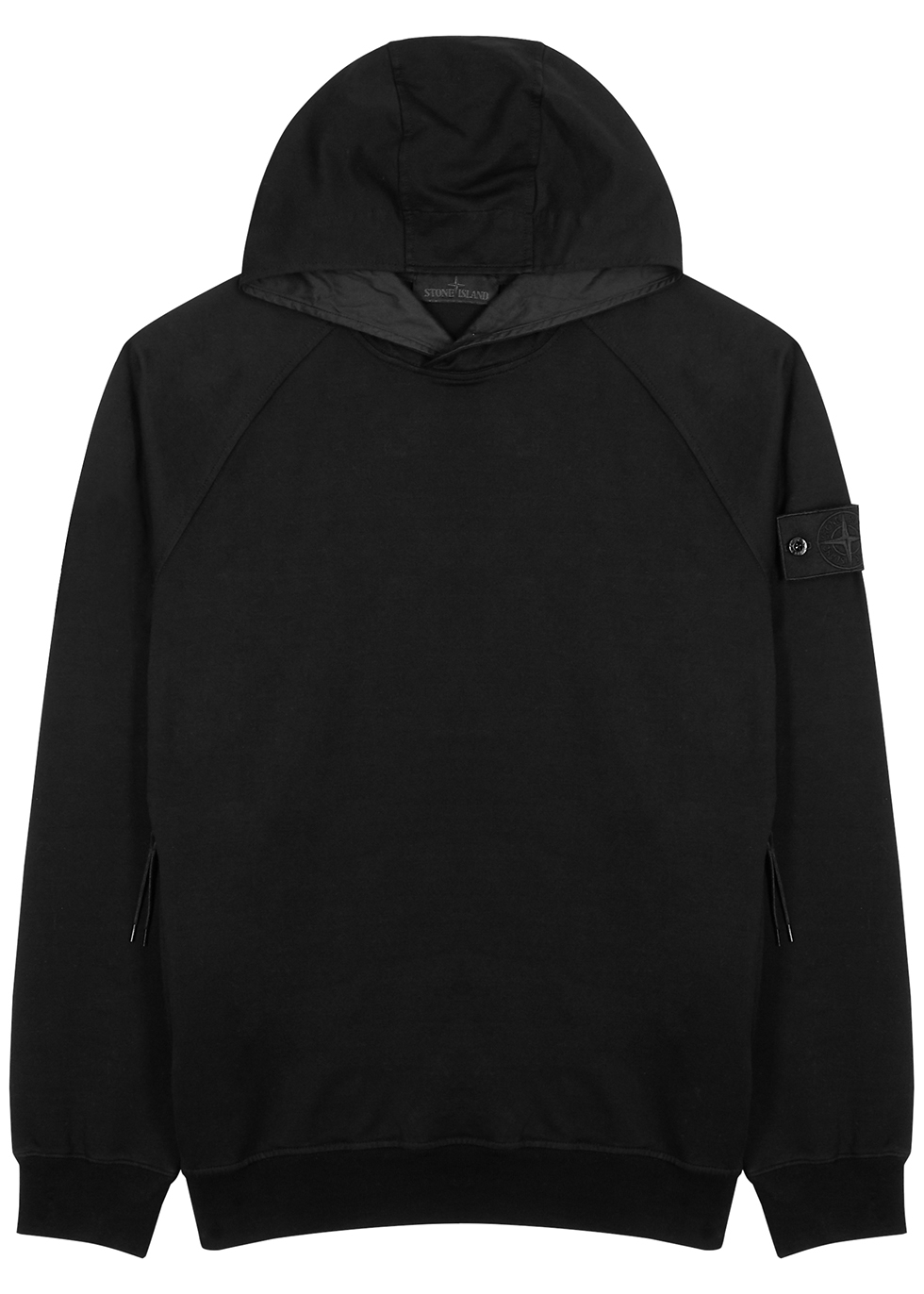 Stone Island GHOST BLACK HOODED STRETCH-COTTON TOP