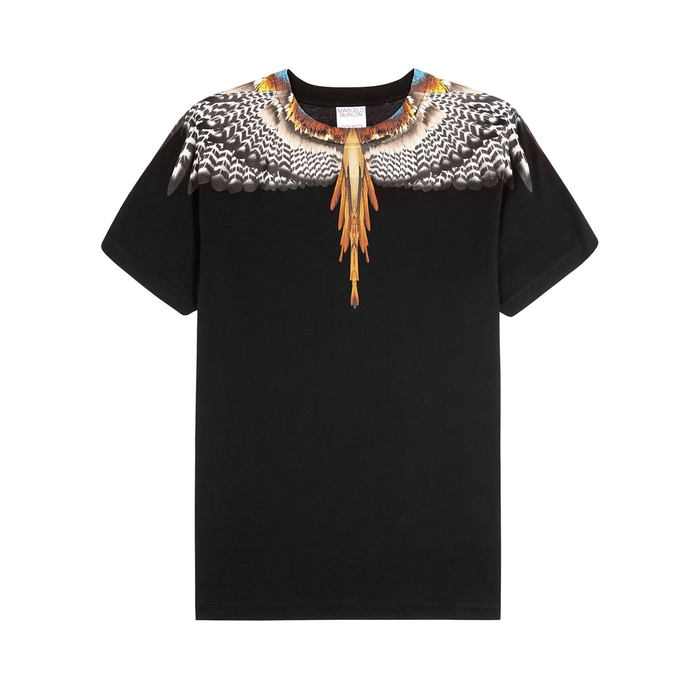 Marcelo Burlon County Of Milan Cottons GRIZZLY WINGS BLACK PRINTED COTTON T-SHIRT