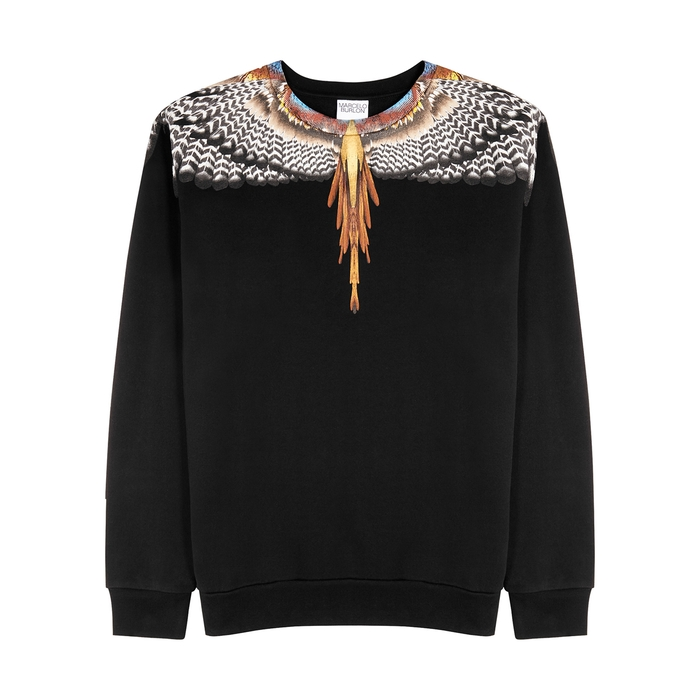 Marcelo Burlon County Of Milan Cottons GRIZZLY WINGS BLACK PRINTED COTTON SWEATSHIRT