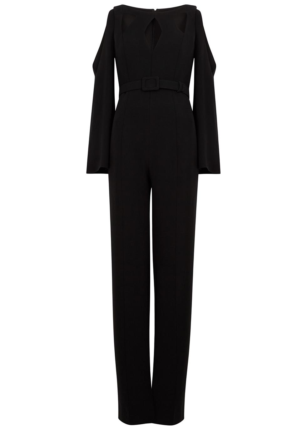 Black belted cut-out jumpsuit