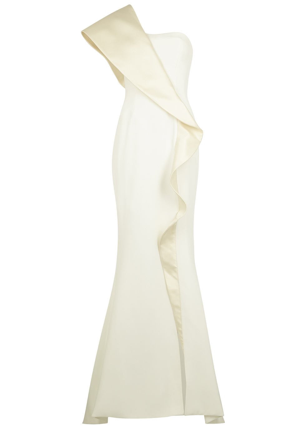 White ruffle-trimmed gown