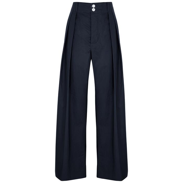 Plan C Clothing NAVY WIDE-LEG COTTON TROUSERS