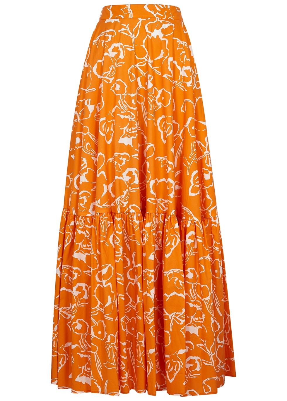 Orange printed cotton maxi skirt
