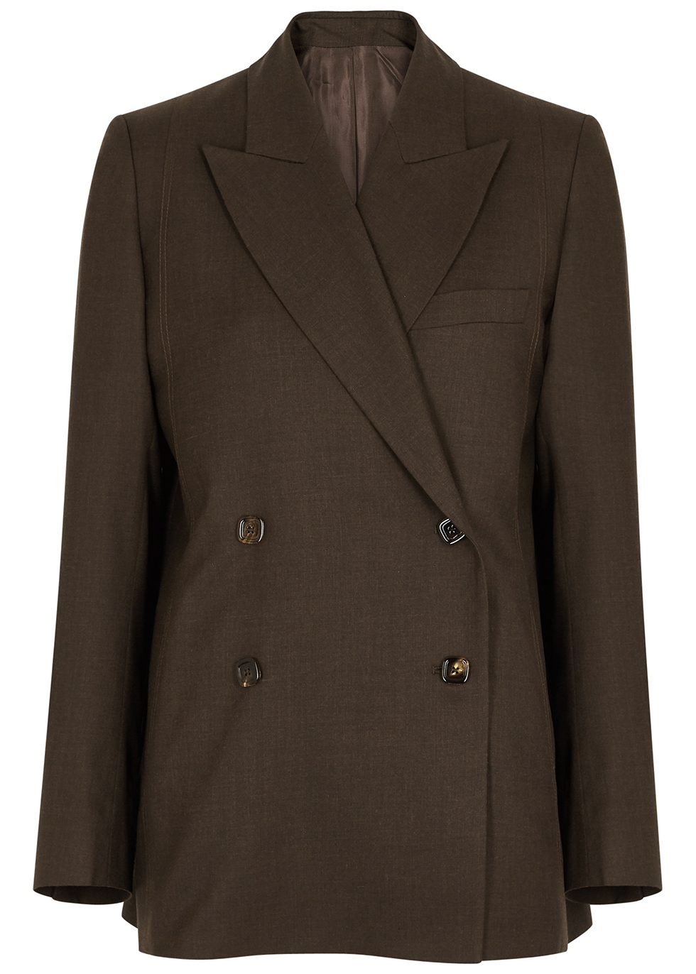 Dark brown double-breasted wool blazer