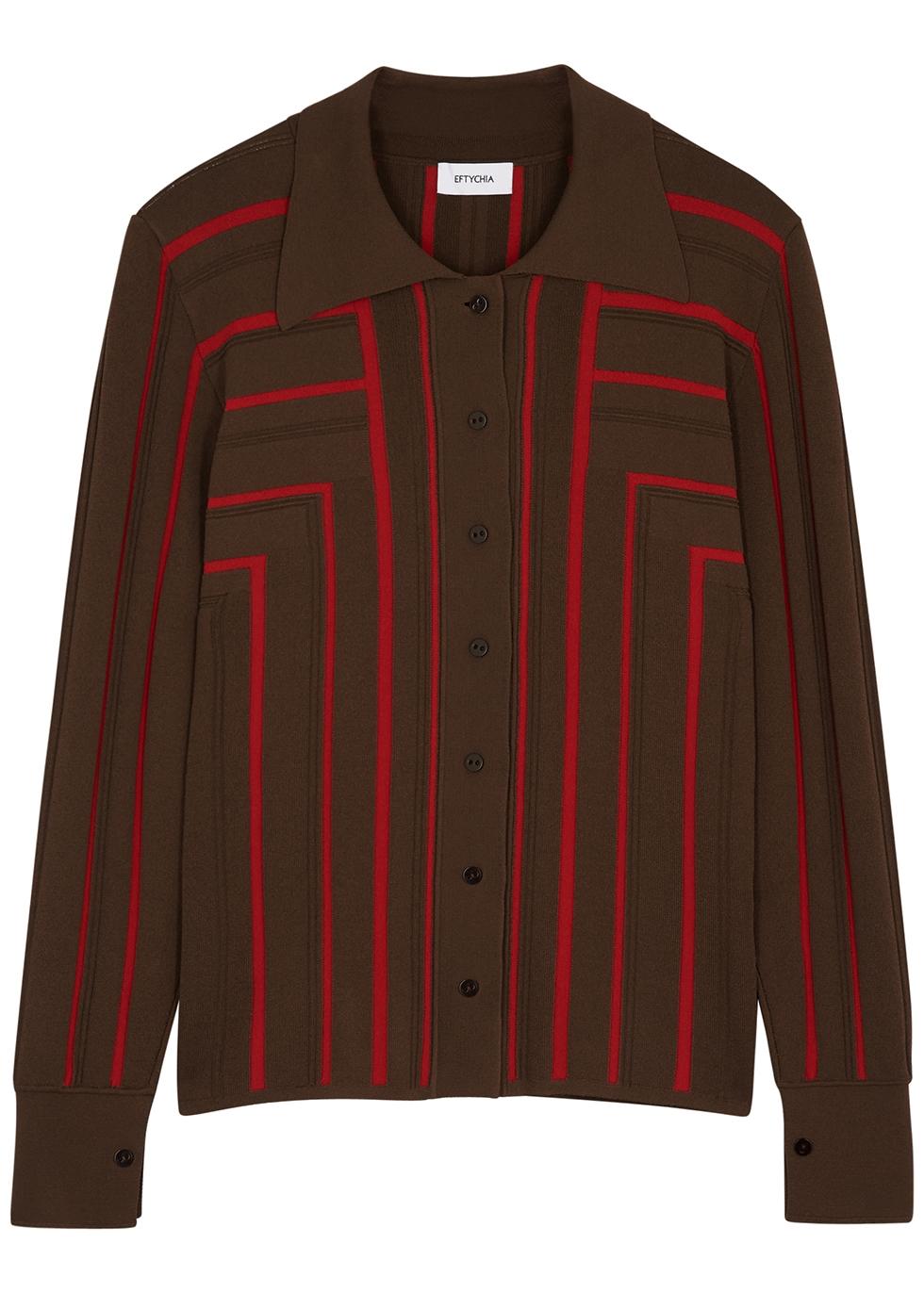 Corner two-tone ribbed-knit shirt