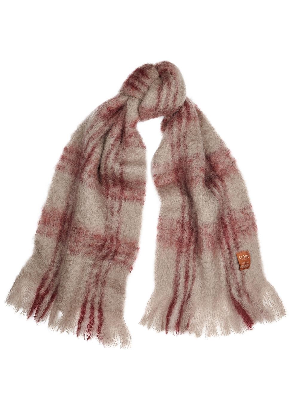 Bufanda Checks mohair-blend scarf