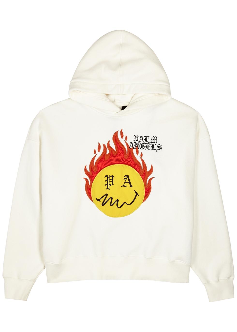 X Smiley Burning Head hooded cotton sweatshirt