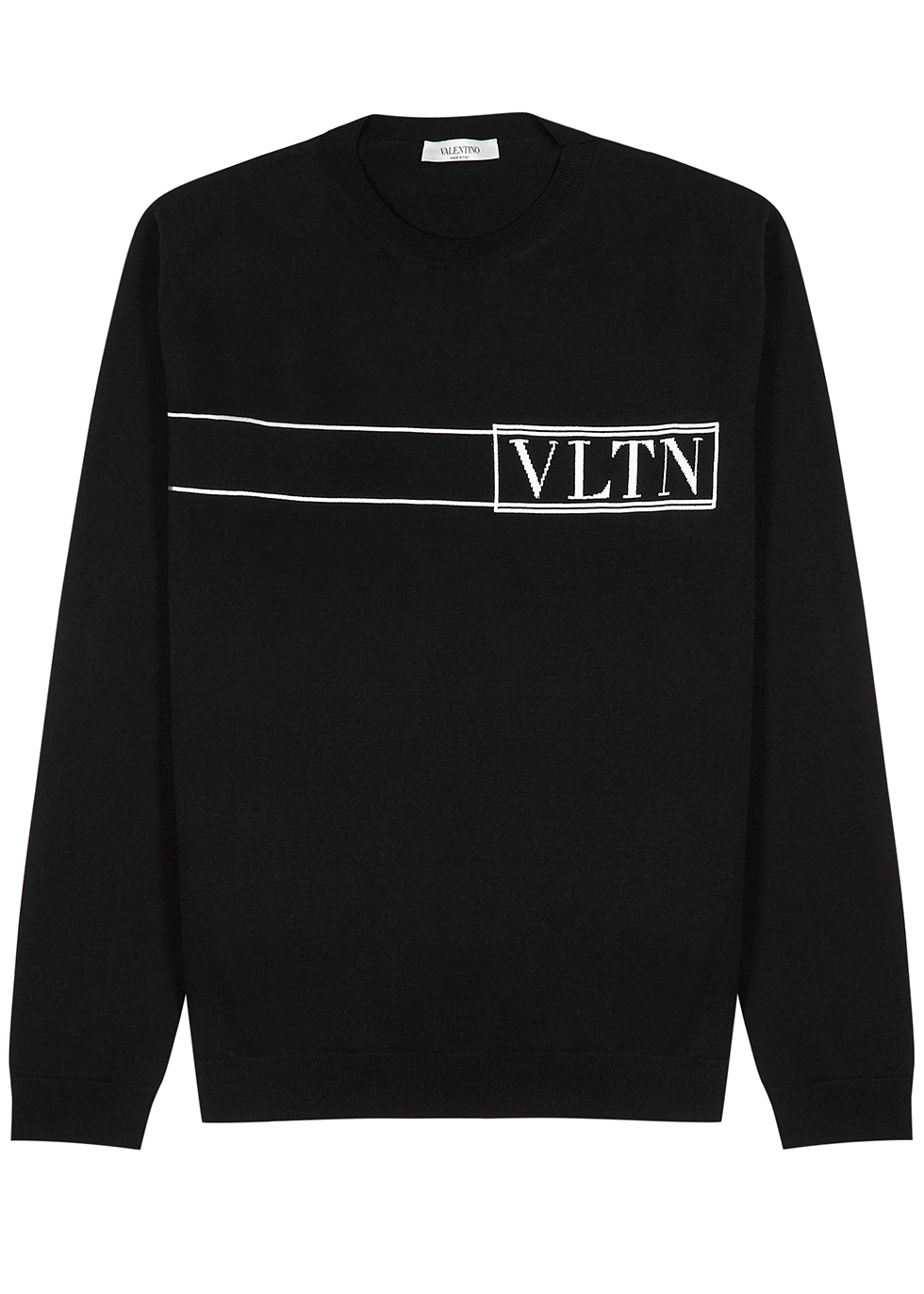 VLTN black stretch-knit jumper